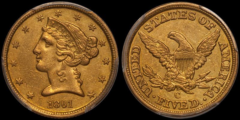 1861-C $5.00 PCGS AU55 CAC