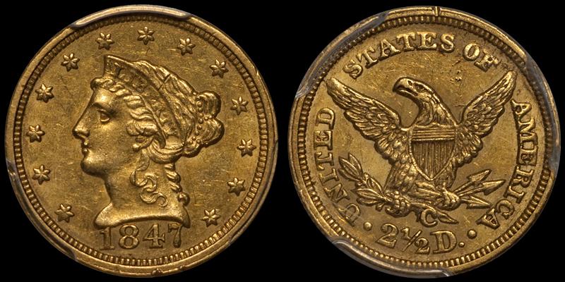 1847-C $2.50 PCGS AU55