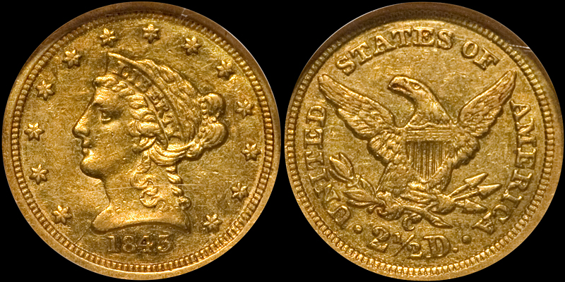 an 1843-C Small Date $2.50 in NGC AU58