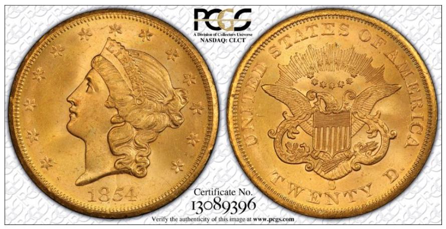 1854-S MS65, courtesy of PCGS