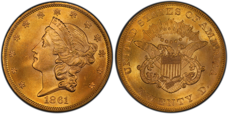 1861 $20.00 PCGS MS67, courtesy of CoinFacts