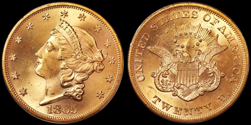1865 $20.00 PCGS MS65 CAC