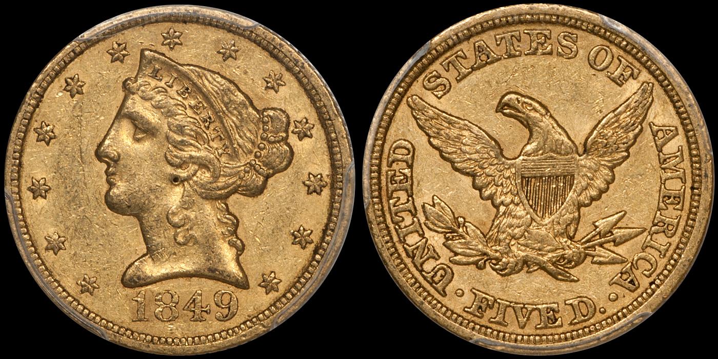 1849 $5.00 PCGS AU55 CAC