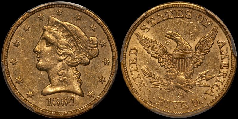 1864-S $5.00 PCGS EF45