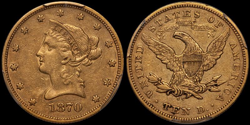 1870-CC $10.00 PCGS EF40