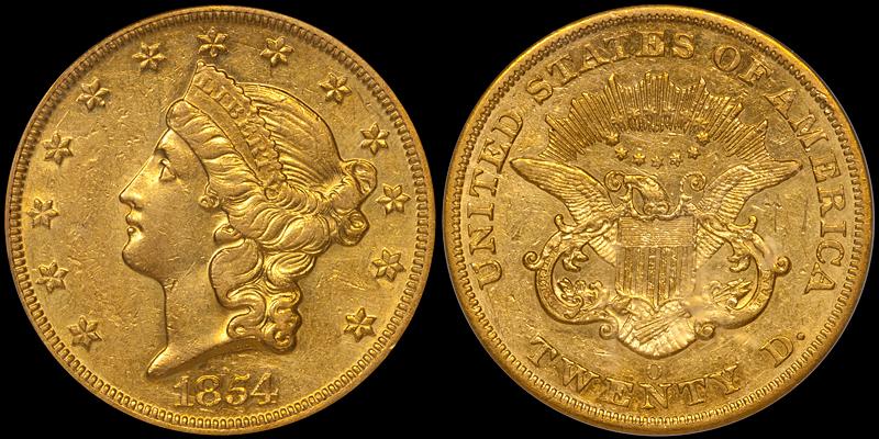 1854-O $20.00 PCGS AU55