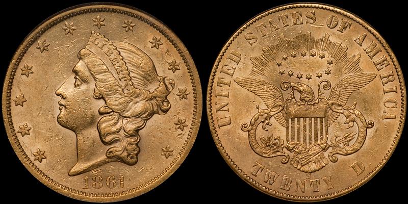 1861-S Paquet $20.00 NGC AU53
