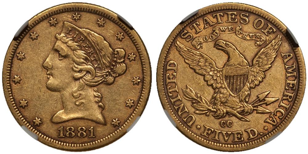1881-CC $5.00 NGC EF45