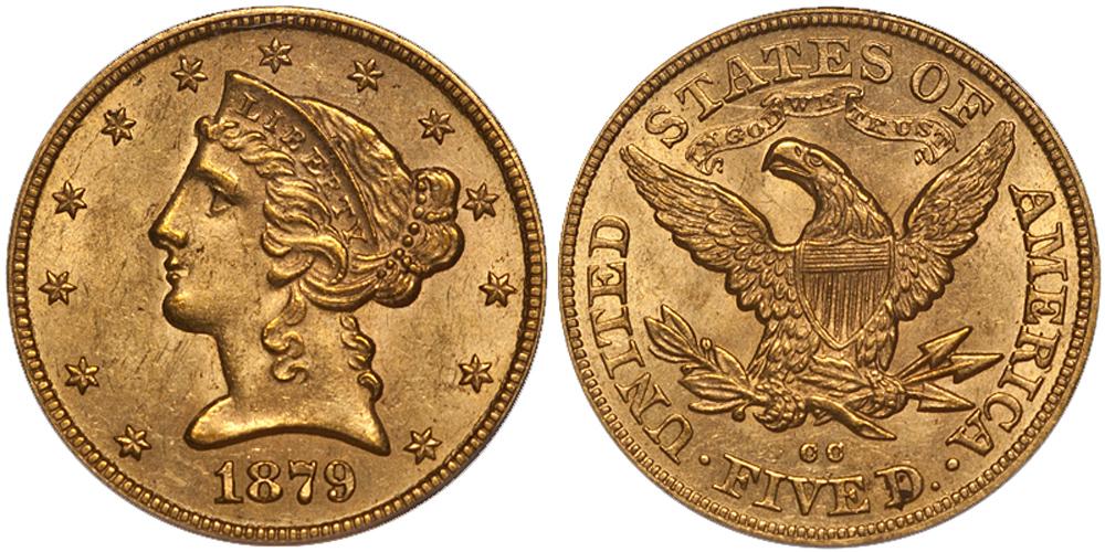 1879-CC $5.00 PCGS MS62 CAC