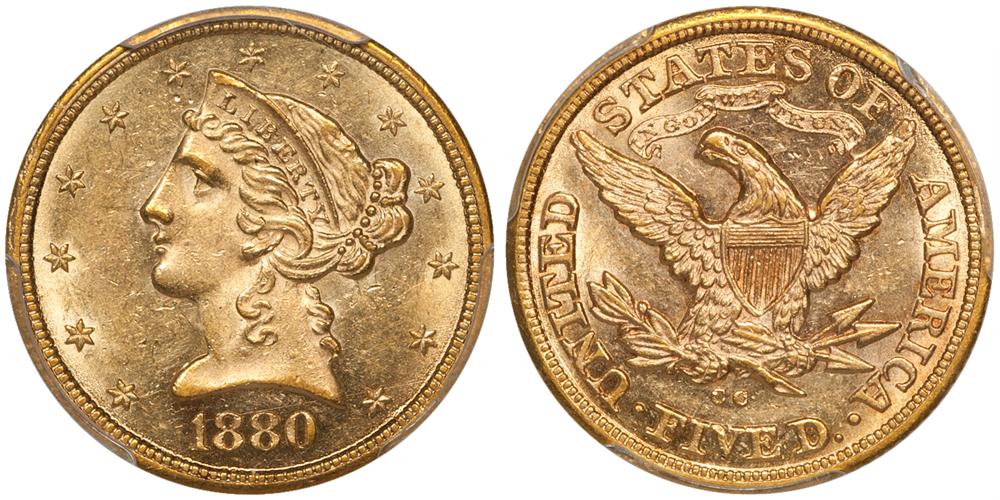 1880-CC $5.00 PCGS MS61