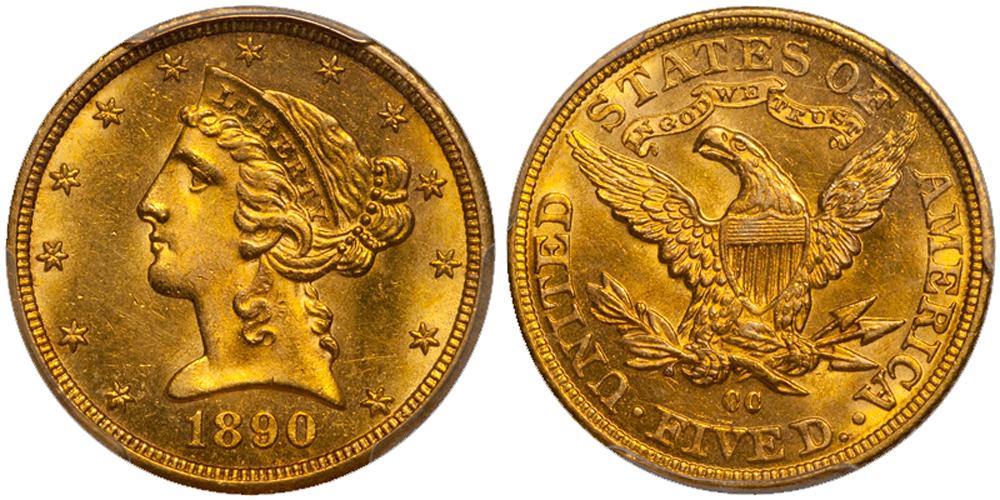 1890-CC $5.00 PCGS MS63+ CAC