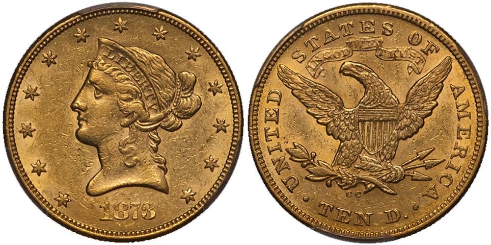 1873-CC $10.00 PCGS AU58