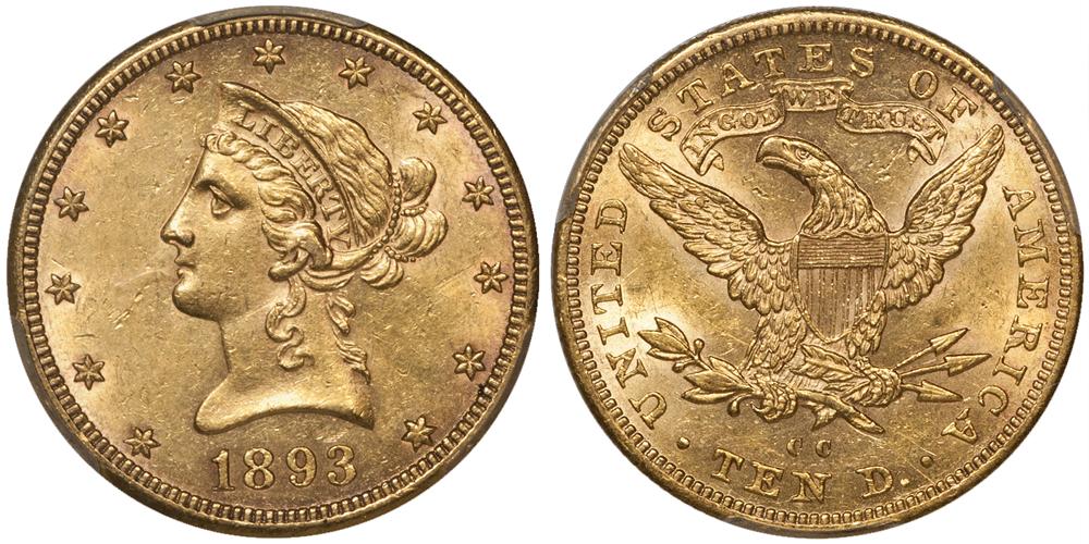 1893-CC $10.00 PCGS AU58 CAC