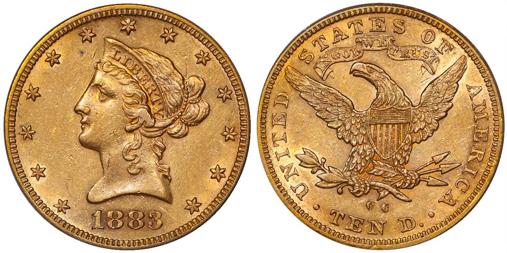 1883-CC $10.00 PCGS AU55