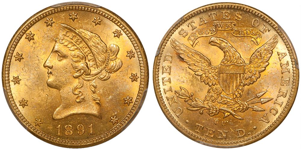 1891-CC $10.00 PCGS MS63