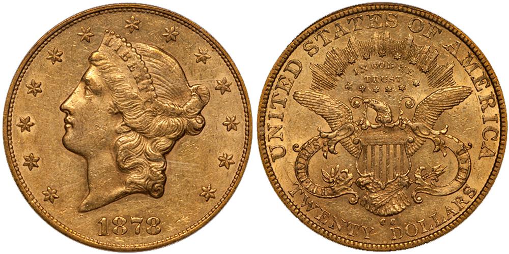 1878-CC $20.00 PCGS AU53