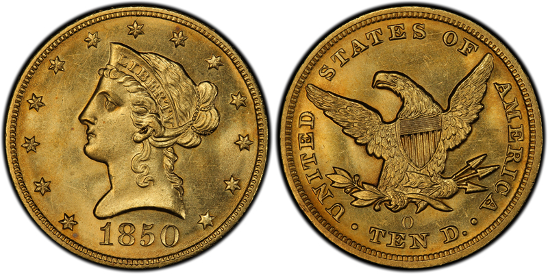 1850-O $10.00 PCGS MS64, image courtesy of CoinFacts