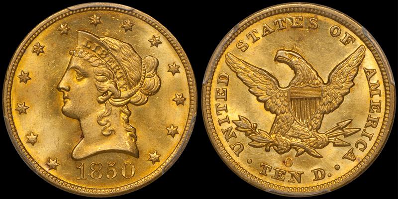 1850-O $10.00 PCGS MS65, ex Eliasberg