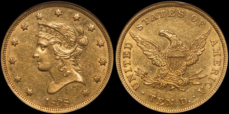 1838 $10.00 NGC AU53