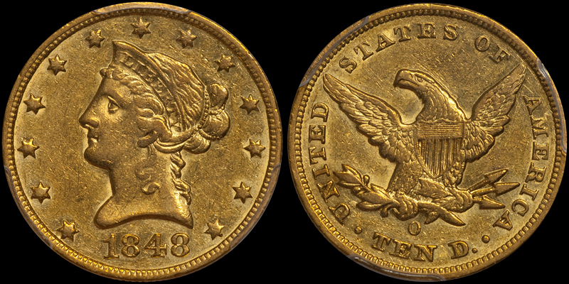1848-O $10.00 PCGS AU55, note the weakly-detailed stars