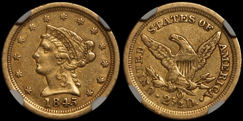 1845-O $2.50 NGC AU53