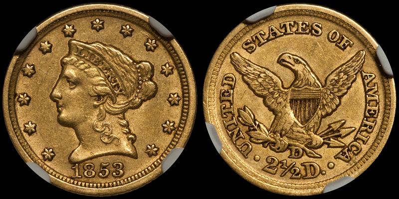 1853-D $2.50 NGC AU55 CAC