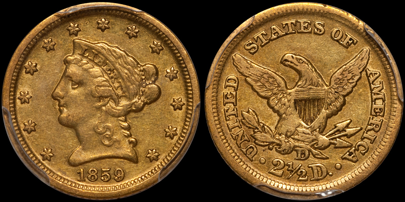 1859-D $2.50 PCGS EF45