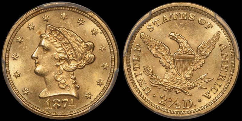 1874 $2.50 PCGS MS64 CAC