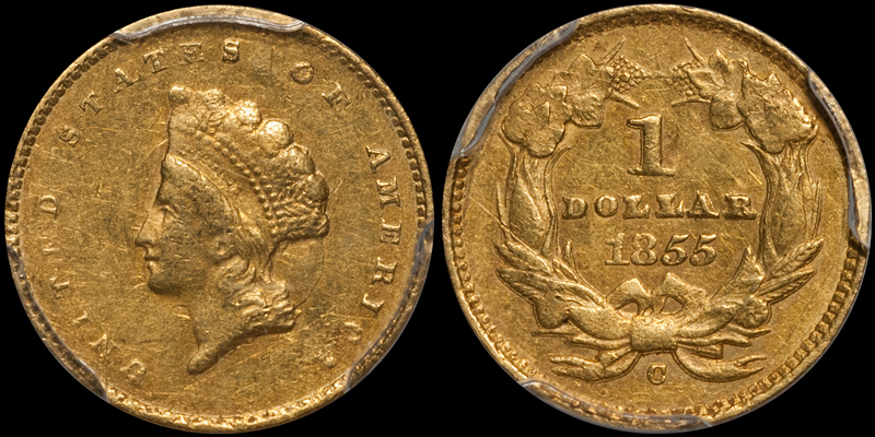 1855-C $1.00 PCGS AU50 CAC