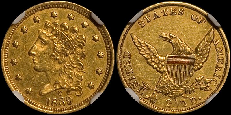 1839-C $2.50 NGC MS60
