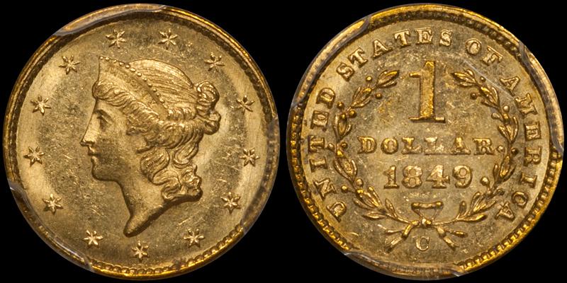 1849-C Closed Wreath $1.00 PCGS MS62 CAC