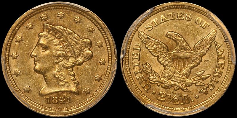 1841-C $2.50 PCGS AU55 CAC
