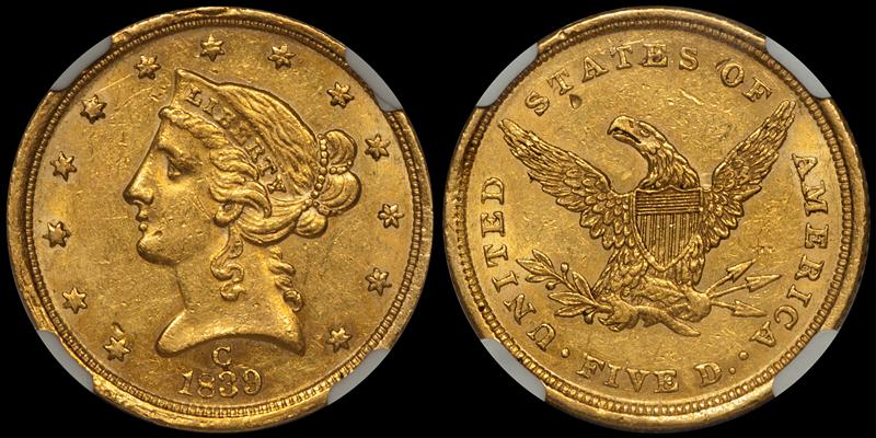1839-C $5.00 NGC MS61