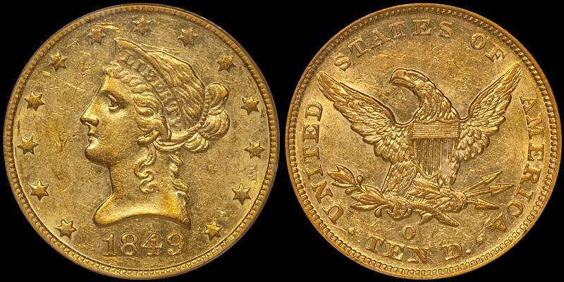 1849-O $10.00 PCGS AU58