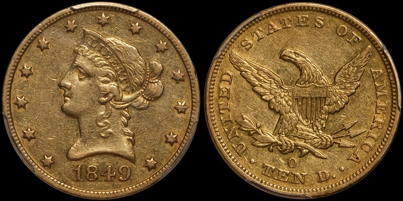 1849-O $10.00 PCGS AU50