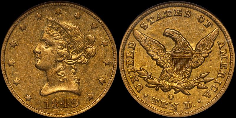 1849-O $10.00 NGC AU55