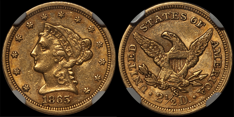 1865-S $2.50 NGC AU55 CAC