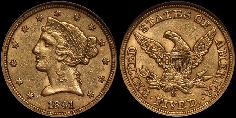 1861-S $5.00 NGC AU55 CAC