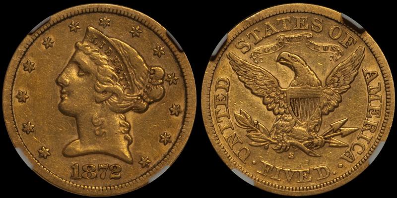 1872-S $5.00 NGC EF45 CAC