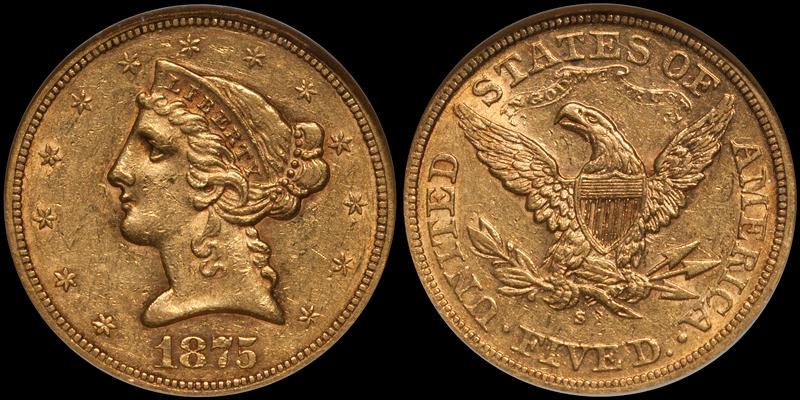 1875-S $5.00 NGC AU55 CAC