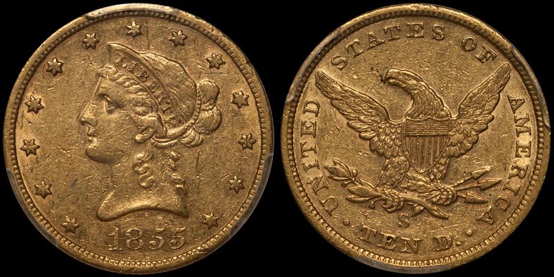 1855-S $10.00 PCGS AU53 CAC