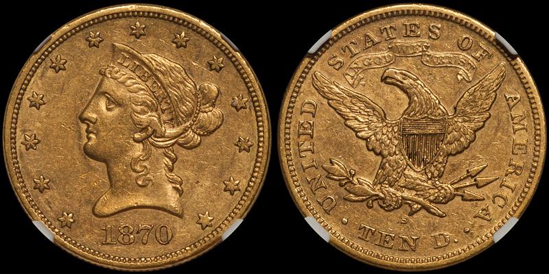 1870-S $10.00 NGC AU53+ CAC