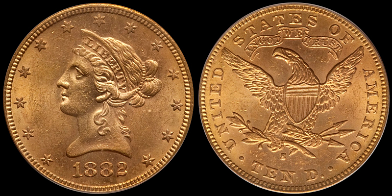 1882-S $10.00 PCGS MS62 (image courtesy of Heritage)