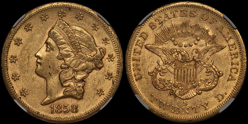 1858-S $20.00 NGC AU58