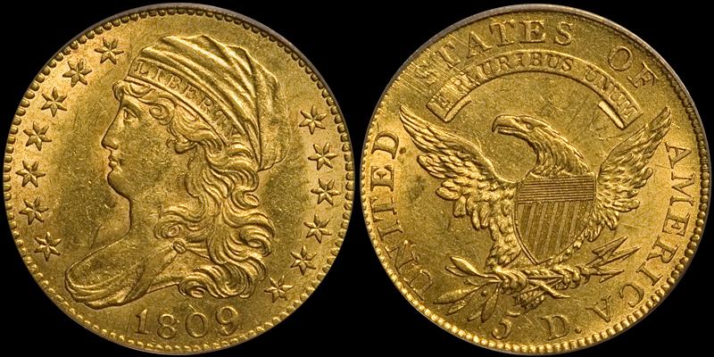 1809/8 $5.00 PCGS AU58 CAC