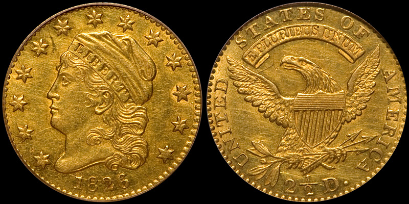 1826/5 $2.50 PCGS AU55