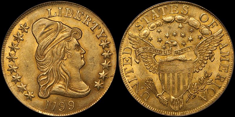 1799 Large Stars $10.00 PCGS MS63
