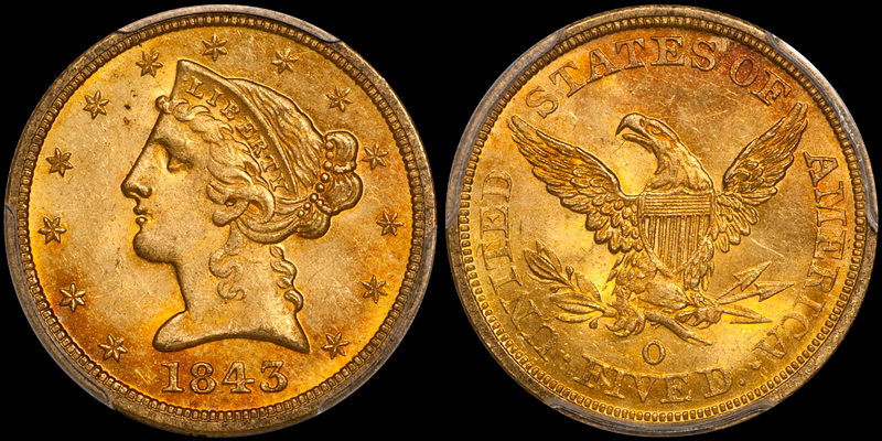 1843-O Large Letters $5.00 PCGS MS64 CAC