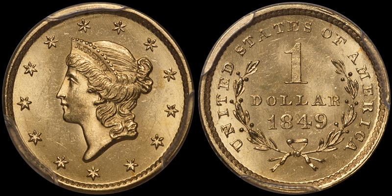 1849 Open Wreath $1.00 PCGS MS65 CAC
