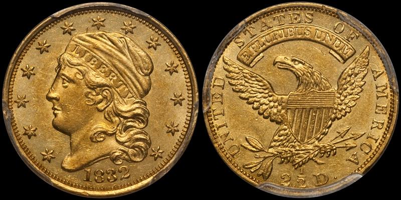1832 $2.50 PCGS 62